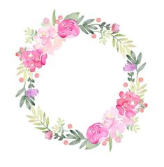 Watercolor Flower Background, Flower Background Wallpaper, Flower Backgrounds, Floral Watercolor, Watercolor Paintings, Watercolour, Wreath Drawing, Clip Art, Flower Frame