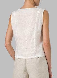 Linen Blouse, Short Tops, Linen Dresses, Look Fashion, Sleeveless Blouse, Shirt Blouses, Shirts, Blouses For Women, Tunic Tops