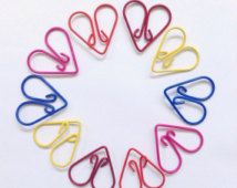 Set of 10 Heart Paperclips- Cute Stationery Filofax Kikkik K Planner Journal Paper Clips Pink Red Blue Paperclip Erin Condren Bookmark