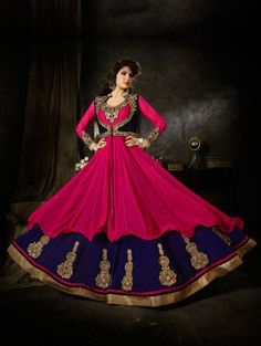 Pink and Blue Art Silk Anarkali Suit with Resham Embroidery Work