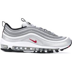 Nike Air Max 97 OG QS Silver Bullet sneakers (€225) ❤ liked on Polyvore featuring shoes, sneakers, grey, round toe shoes, gray shoes, rubber sole shoes, grey shoes and round cap