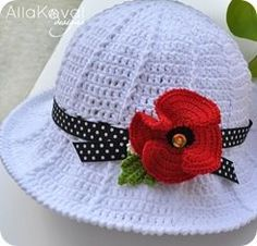 -^^- FREE HOW TO pattern to crochet --- a summer hat --- for infant, child , adult: