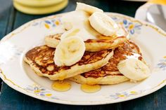 Kids healthy snacks Wholemeal banana pancakes topped with honey and sliced banana makes a blissful weekend breakfast!