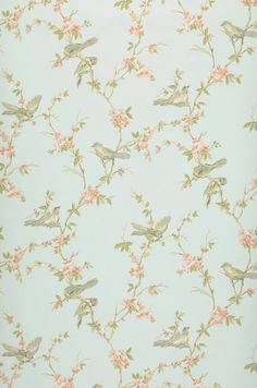 This exceedingly glamorous wallpaper in green-white evokes the charm of nature awakening. Green Wallpaper, Flower Wallpaper, Wallpaper Samples, Pattern Wallpaper, Cath Kidston Wallpaper, Orange Pastel, Bleu Orange, Little Flowers, Red Flowers