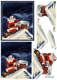 Santa On The Roof Easy To Cut Decoupage on Craftsuprint designed by Russ Smith - New concept: these sheets are perfect for those who suffer from arthritis or find traditional step-by-step decoupage too hard. These sheets have been designed to be easy and quick to cut out, but give the same 3D look as others when made up. This sheet uses a vintage painting of Father Christmas standing next to a chimney with a sack of presents. - Now available for download!