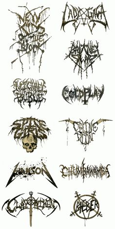 Death Metal logos for Pop bands. For those who have trouble reading them: New Kids On The Block, Lady Gaga, Britney Spears, Michael Buble, Coldplay, Spice Girls, Celine Dion, Hanson, Chumbawamba, Clay Aiken, and of course Bieber.