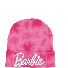Barbie Logo Pink Tie Dye Beanie Hot Topic (€1,76) ❤ liked on Polyvore featuring accessories, hats, logo hats, acrylic beanie, pink beanie hat, logo beanie hats and acrylic beanie hat