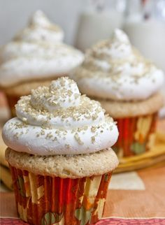 Spiced Eggnog Cupcakes with Vanilla- Rum Swiss Buttercream. Ok, FINE... we'll have one! #sparkleparty
