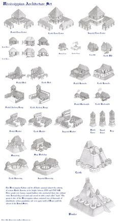 """This is an """"Age of Empires architecture set I've designed for a Mississipian civilization. For those of you familiar with the game, you'll know what . Mississippian Architecture Set - Age of Empires 2 Fantasy Map Making, Fantasy World Map, Fantasy City, Fantasy Castle, Medieval Fantasy, Historical Art, Historical Architecture, Age Of Empires, Dungeon Maps"""