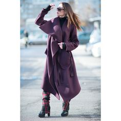 Burgundy Woman's Coat Women's Clothing Red Coat Asymmetric Coat... ($129) ❤ liked on Polyvore featuring black, outerwear and women's clothing