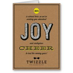 Modern Kraft Contagious Cheer Joy Corporate Holiday Card craft paper #yellow