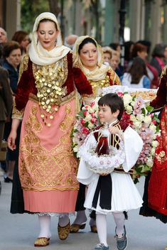 """Katifénia"", the traditional bridal costume from the region of Mégara in Attica, Greece Greek Traditional Dress, Traditional Fashion, Traditional Outfits, Dance Costumes, Greek Costumes, Greece Culture, Culture Clothing, Folk Costume, Bridal"