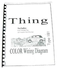 Volkswagen Thing Type 181 Color Wiring Diagram Booklet, $10 via DasTank.Com