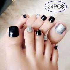 24 pcs black & silver plated false toe nails - Most beautiful Nail models Pretty Toe Nails, Cute Toe Nails, Black Toe Nails, Acrylic Toe Nails, Toe Nail Art, Nail Nail, Coffin Nails, Glitter Toe Nails, Fall Toe Nails
