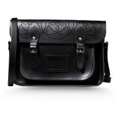 The Cambridge Satchel Company For 10 Corso Como Medium Leather Bag (119.015 HUF) ❤ liked on Polyvore featuring bags, handbags, accessories, bolsas, purses, satchels, black, courier bag, genuine leather handbags and man messenger bag