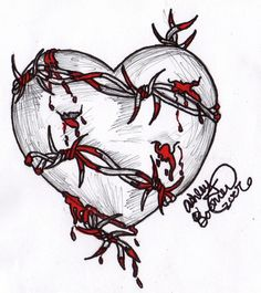 Grey Rose Flower And Barbed Wire Tattoos Designs Sad Drawings, Dark Art Drawings, Pencil Art Drawings, Tattoo Drawings, Drawing Sketches, Broken Heart Drawings, Broken Heart Art, Broken Heart Tattoo, Rosen Tattoo Klein