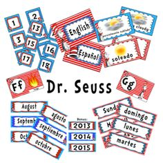 Dr Seuss Theme- Freebie Calendar Weather Alphabet Classroom areas English and Spanish