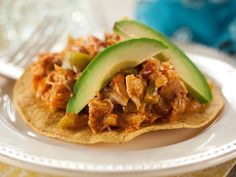 Shredded Spicy Chicken Tostadas (Tinga) recipe from Marcela Valladolid via Food Network