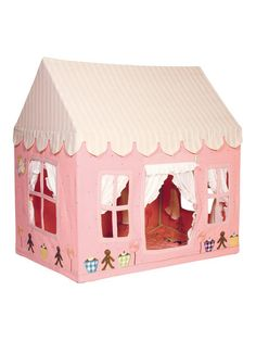 """Gingerbread Cottage Playhouse - The soft pink fabric is appliquéd and embroidered with gingerbread men, cupcakes and lollipops and finished off with a delicate dusting of multi-colored dots. Light metal frame construction. Cotton fabric featuring embroidered gingerbread men, cupcakes and lollipops. Storage bag included. Easy assembly. Small measures 29"""" wide x 43¼"""" long x 43¼"""" high ($209/$349 + $7.95 S). Large measures 43¼"""" wide x 52.8"""" long x 65"""" high ($249/$409 + $9.95 S)"""