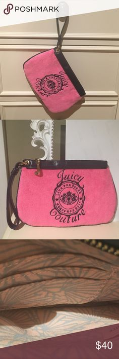 "Juicy Couture Wristlet Juicy Couture Wristlet. Pink terry cloth with navy blue writing that says Juicy Couture Live For Sugar. Navy trim and handle. Zippers with gold ""J"". Inside has three little pockets. Great condition, used only once. Smoke free home. 8  1/2"" x 5 3/4"". Juicy Couture Bags Clutches & Wristlets"