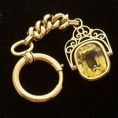 Vintage Antique 14k Gold Watch Fob Citrine Chatelaine by Revvie1, $786.00