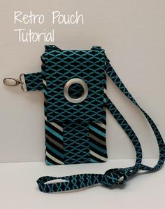 Sewing Bags Retro Free pattern: Retro phone pouch - Linda from Novice Beginnings shares a tutorial for making this cute cell phone pouch. It has a long strap so you can carry it like a purse. Or, use the hook to attach it to a tote bag. Purse Patterns, Sewing Patterns Free, Sewing Tutorials, Free Pattern, Sewing Projects, Sewing Ideas, Craft Projects, Craft Ideas, Retro Phone
