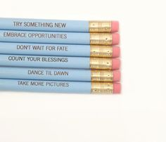 Resolution pencil set of six in baby blue. by thecarboncrusader