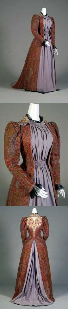 Afternoon dress (tea gown), 1885-89. Fabric is from 1860. American or Scottish.