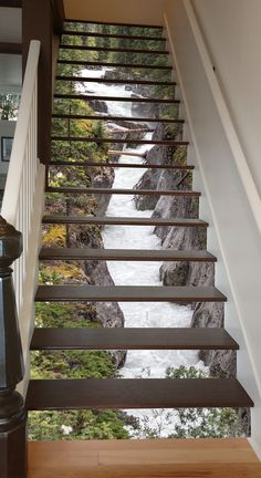 Maligne River Stair 66 Risers Staircase Stairway Stairs Risers Stickers Mural Photo Mural Vinyl Decal Wallpaper Removable - coole Wohnideen - Pictures on Wall ideas Future House, My House, Decoration Photo, 3d Home, Stair Risers, Stair Steps, Stair Railing, Beautiful Waterfalls, Stairways