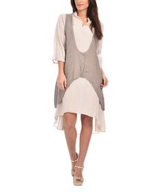 Love this Taupe Linen Tie-Back Dress - Plus Too on #zulily! #zulilyfinds