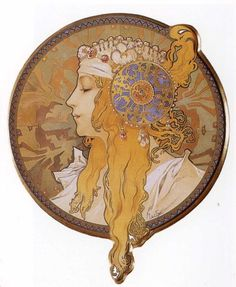 Alphonse Mucha Byzantine Head The Blonde, , . Read more about the symbolism and interpretation of Byzantine Head The Blonde by Alphonse Mucha. Art And Illustration, Art Nouveau Mucha, Alphonse Mucha Art, Illustrator, Jugendstil Design, Kunst Poster, Inspiration Art, Arte Pop, Byzantine