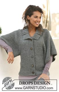 "DROPS 122-31 - DROPS jacket with raglan in ""Alaska"". Size S to XXXL. - Free pattern by DROPS Design"