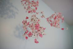 Spherical mobiles made out of floral wire, silk hydrangea flowers and hung with thread - easy project
