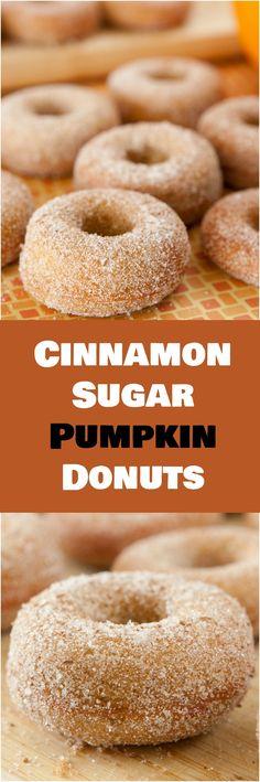 Delicious Cinnamon Sugar Pumpkin Cake Donuts recipe! Makes 1 dozen donuts.