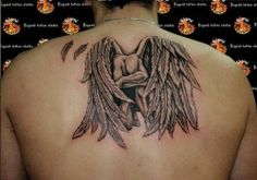 Mens Back #Tattoo With Kneeling Angel