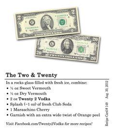 The Two and Twenty #Cocktail #Recipe In a rocks glass filled with fresh ice, combine: 0.5 oz sweet vermouth 0.5 oz dry vermouth 2 oz Twenty 2 vodka Splash (~1 oz) fresh club soda 1 Maraschino cherry Garnish with an extra wide twist of Orange peel #Vodka #Vermouth #ClubSoda #MaraschinoCherry #OrangePeel #RocksGlass #Maine