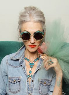 Karen-Walker-Forever Rockin' color and fashion with grey hair. love