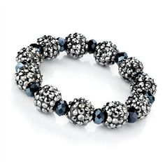 Black Silver Sparkly Ball Shambala Style Beaded Bracelet from Picsity.com
