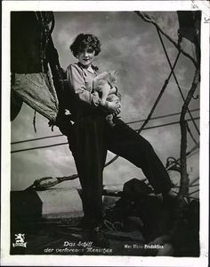 """Born today in 1901 actress and singer Marie Magdalene """"Marlene"""" Dietrich. Below: Dietrich in the 1929 film """"Ship of Lost Men (Das Schiff der verlorenen. Marlene Dietrich, I Love Cats, Cool Cats, Patricia Highsmith, Celebrities With Cats, Celebs, Cat People, Vintage Cat, Silent Film"""