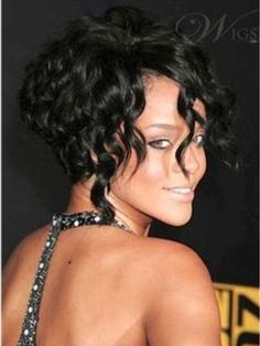 100%+Human+Remy+Hair+Custom+Rihanna+Classic+Bob+Hairstyle+Natural+Glueless+Lace+Front+Wig