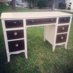 Antique White Body and Dark Stain Drawers.