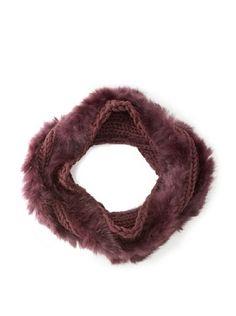 Buji Baja Women's Knit and Rabbit Loop Snood, Port