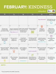 February Monthly Kindness Challenge Calendar #28daysofkind