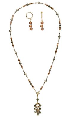 Jewelry Design - Single-Strand Necklace and Earring Set with Pyrite Gemstone Beads, Cultured Freshwater Pearls and Swarovski Crystal - Fire Mountain Gems and Beads