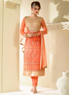 Buy Orange Net Straight Suit online from the wide collection of Salwar Kameez.  This Orange  colored Salwar Kameez in Net  fabric goes well with any occasion. Shop online Designer Salwar Kameez from cbazaar at the lowest price.