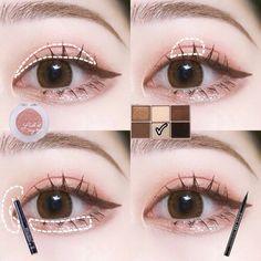 Ullzang Makeup, Makeup Blog, Makeup Inspo, Makeup Cosmetics, Makeup Tips, Beauty Makeup, Makeup Looks, Korean Eye Makeup, Korea Makeup