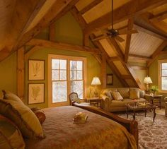 Log home bedroom perfect for the small house i want tostart out in. Log Cabin Living, Log Cabin Homes, Home And Living, Log Cabins, Living Room, Dream Rooms, Dream Bedroom, Home Bedroom, Master Bedroom