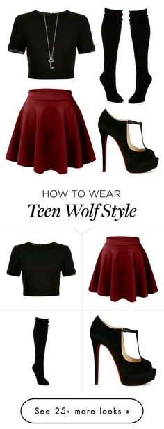 featuring Ted Baker, Christian Louboutin, Hue and Roberto Coin Teen Wolf Outfits, Teen Fashion Outfits, Mode Outfits, Skirt Outfits, Look Fashion, Outfits For Teens, Fall Outfits, Summer Outfits, Teen Wolf Fashion