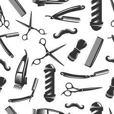 Barbershop Seamless Pattern Black On White Stock Vector (Royalty Free) 1088736632 Barber Clothing, Dragon Tattoo Colour, Modele Flyer, Beard Logo, Barber Logo, Barber Shop Decor, Barbershop Design, Traditional Flash, Truck Art