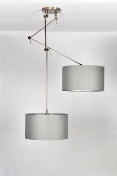 hanglamp 30110: modern, klassiek, design, staal , rvs, stof, grijs, rond ...